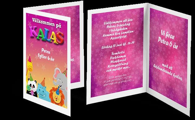 Exempel på inbjudningskort barnkalas